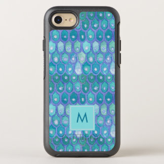 Modern Mermaid | Elegant Teal with Monogram OtterBox Symmetry iPhone 8/7 Case