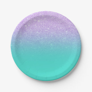 Modern mermaid lavender glitter turquoise ombre 7 inch paper plate
