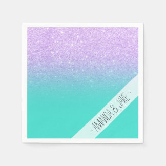 Modern mermaid lavender glitter turquoise ombre disposable napkins