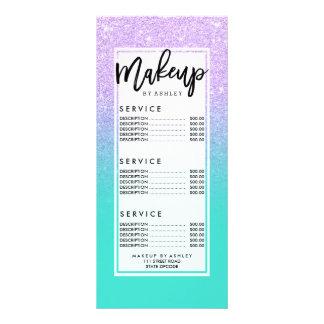 Modern mermaid lavender glitter turquoise ombre full color rack card