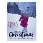 Modern Merriest Christmas Script Holiday Photo Postcard