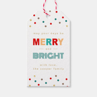 Modern Merry and Bright Confetti Dots Christmas Pack Of Gift Tags