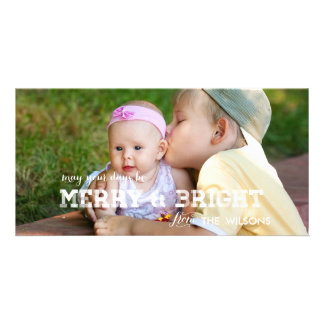 Modern Merry and Bright Holiday Photo Card