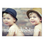Modern Merry Christmas Big Photo Card Personalized Invitations