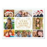 "Modern Merry Christmas Collage Holidays Photo Card 5"" X 7"" Invitation Card"