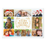 "Modern Merry Christmas Collage Holidays Photo Card 5"" X 7"" Invitation Card"