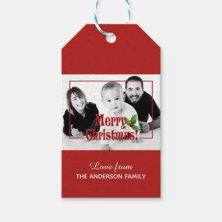 Modern Merry Christmas Custom Photo Gift Tags