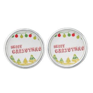 Modern Merry Christmas Design Cufflinks