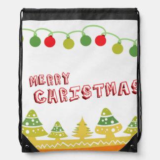 Modern Merry Christmas Design Drawstring Bag