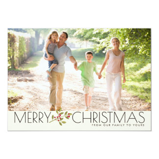 Modern Merry Christmas Family Photo Greeting Card