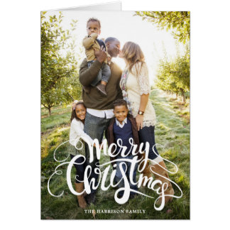 Modern Merry Christmas Full Photo Holiday Card