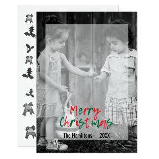 Modern Merry Christmas Green Red Script Overlay 2 Card