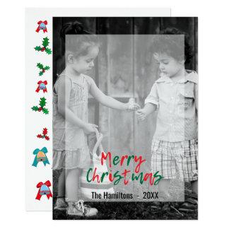 Modern Merry Christmas Green Red Script Overlay Card
