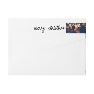 Modern Merry Christmas Handwritten Script Photo Wrap Around Label