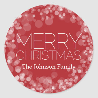 Modern Merry Christmas Red Bokeh Personalized Classic Round Sticker
