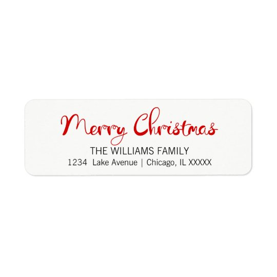 Modern Merry Christmas Return Address Labels