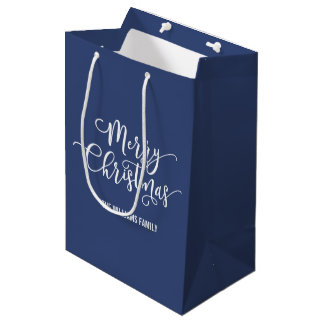 Modern Merry Christmas Script Blue Gift Bag