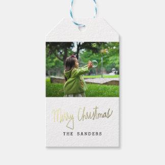 Modern Merry Christmas Script Photo Gift Tags