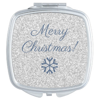 Modern Merry Christmas Silver Gray Glitter Mirrors For Makeup