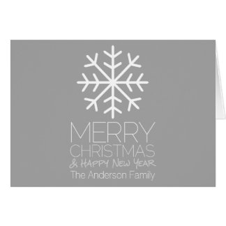 Modern Merry Christmas Snowflake - silver gray Card