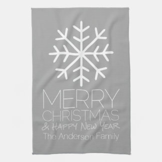 Modern Merry Christmas Snowflake - silver gray Towels