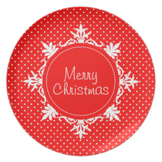 Modern Merry Christmas Strawberry Red Polka Dots Party Plate