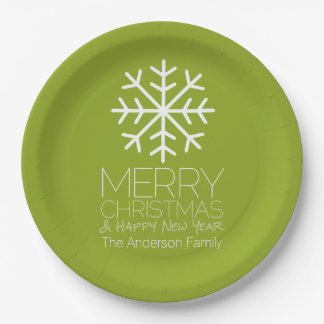 Modern Merry Christmas Winter Snowflake - green 9 Inch Paper Plate