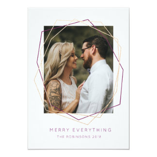 Modern Merry Everything Photo Trendy Faux Gold Card