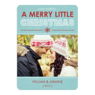 "Modern Merry Little Christmas Photo Flat Card Blue 5"" X 7"" Invitation Card"