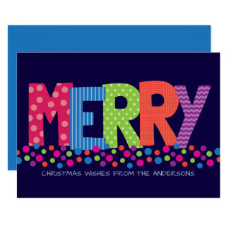 Modern MERRY Making Colorful Holiday Greeting Card