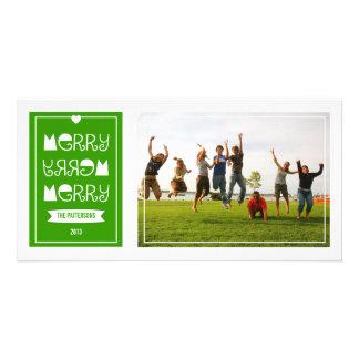 Modern Merry Merry Green Christmas Photo Card