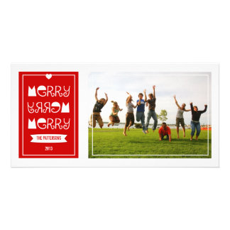 Modern Merry Merry Merry Red Christmas Photo Card