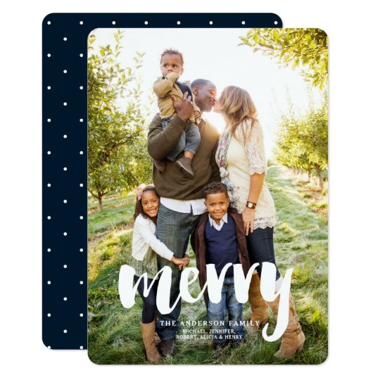 Modern Merry Photo Holiday Christmas Card