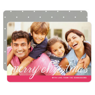 Modern Merry Pink   Gray Photo Holiday Greeting Card