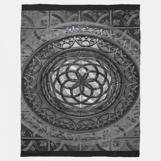 Modern Metal Mandala sheet Fleece Blanket