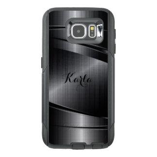 Modern Metallic Black Geometric Design OtterBox Samsung Galaxy S6 Case