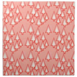 Modern metallic Christmas trees - coral orange Printed Napkins