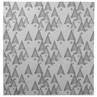 Modern metallic Christmas trees - silver grey Napkins