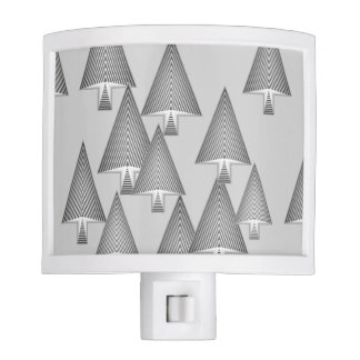 Modern metallic Christmas trees - silver grey Night Lights
