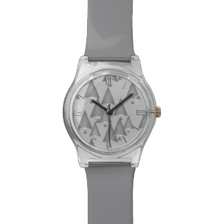 Modern metallic Christmas trees - silver grey Wrist Watches