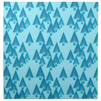 Modern metallic Christmas trees - sky blue Printed Napkin