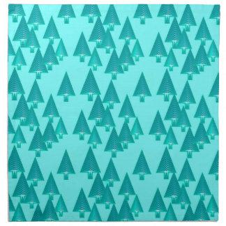 Modern metallic Christmas trees - turquoise Printed Napkin