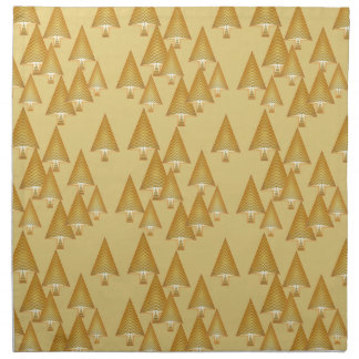 Modern metallic Christmas trees - yellow gold Printed Napkins