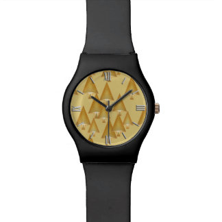 Modern metallic Christmas trees - yellow gold Watch