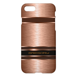 Modern Metallic Copper Tone With Stripes Design iPhone 8/7 Case