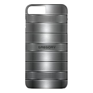 Modern Metallic Gray Stripes Pattern M iPhone 8 Plus/7 Plus Case