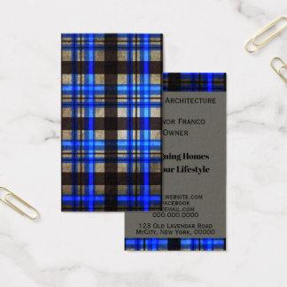 Modern Metro Blue Plaid Tartan Business Pro Business Card
