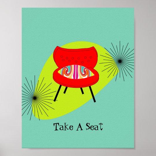 Modern Mid Century Retro Style Chair Illustration Poster