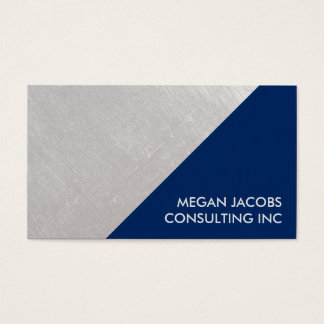 Modern Midnight Blue Faux Brushed Silver Geometric Business Card