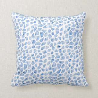 Modern Minimal Animal Print Blue Watercolor Pillow